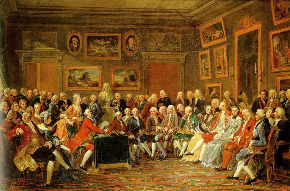 Lecture de la tragédie de l'orphelin de la Chine de Voltaire dans le salon de madame Geoffrin, Anicet-Charles-Gabriel Lemonnier (1812).
